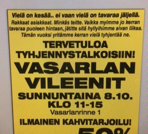 VASARLAN VILEENIT SU 8.10. KAIKKI -50 %